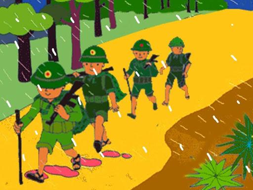 Chú bộ đội hành quân trong mưa